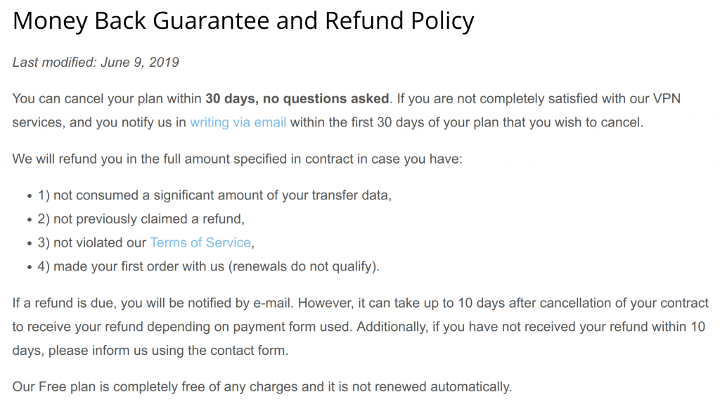 HideMe Refund Policy