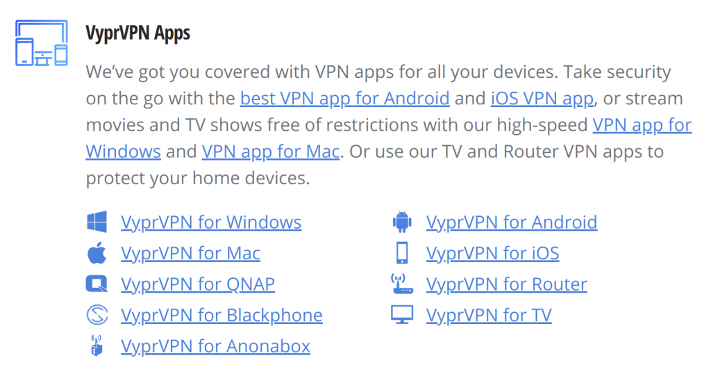 More VyprVPN Apps