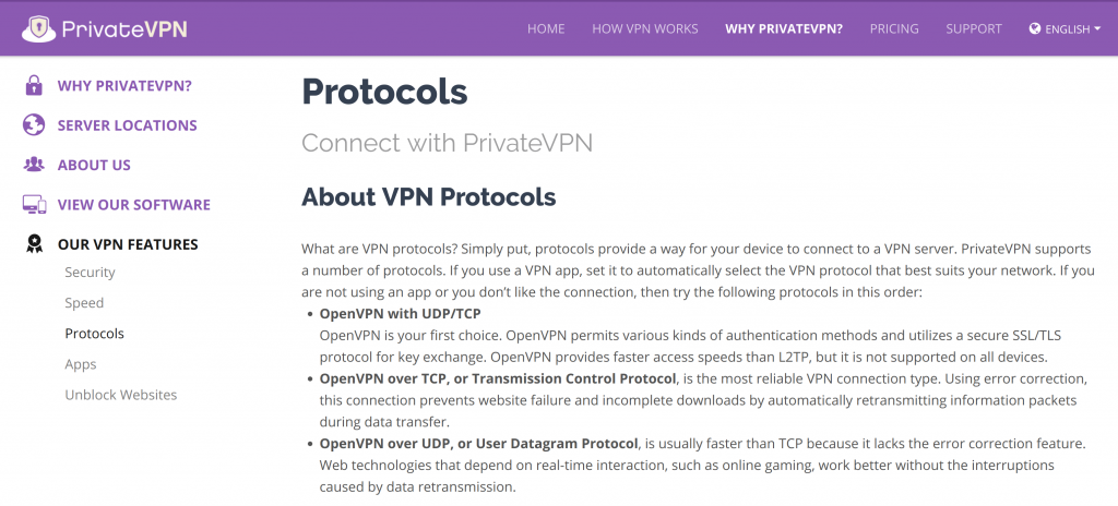PrivateVPN Protocols