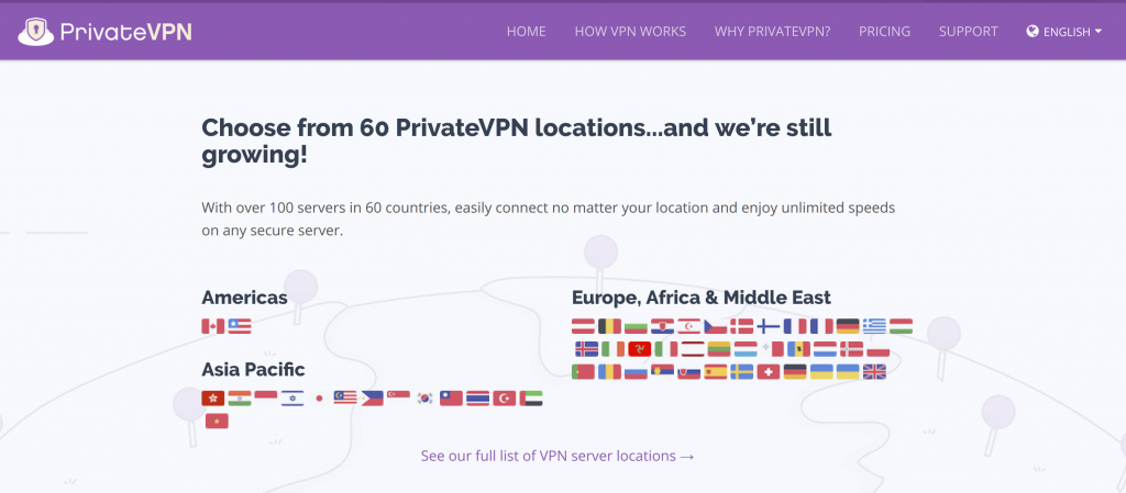 PrivateVPN Server Locations