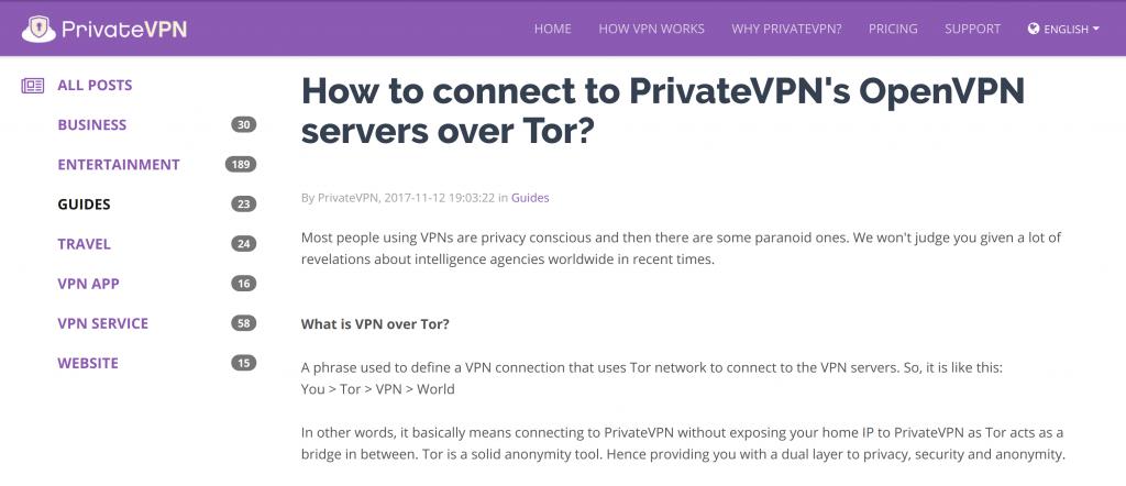 PrivateVPN Tor