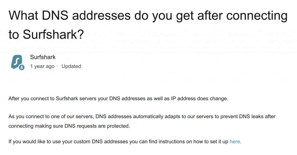 Surfshark DNS addresses