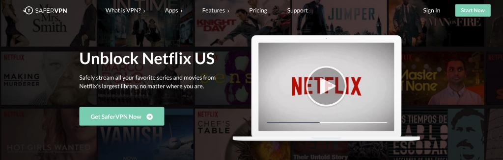Unblocking Netflix with SaferVPN