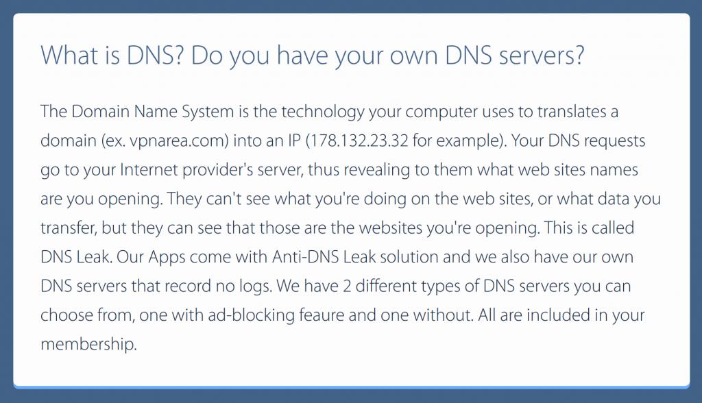 VPNArea DNS Servers