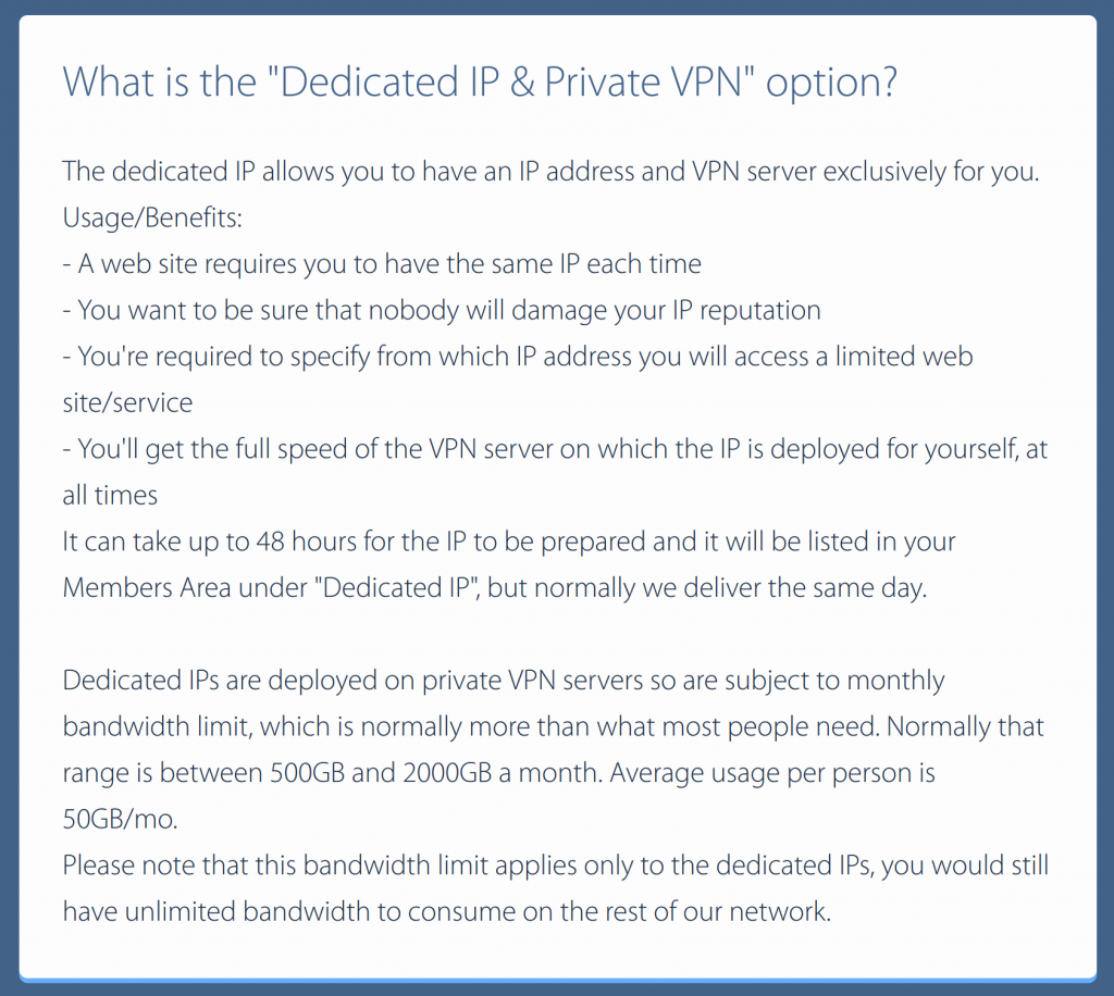 VPNArea Dedicated IP