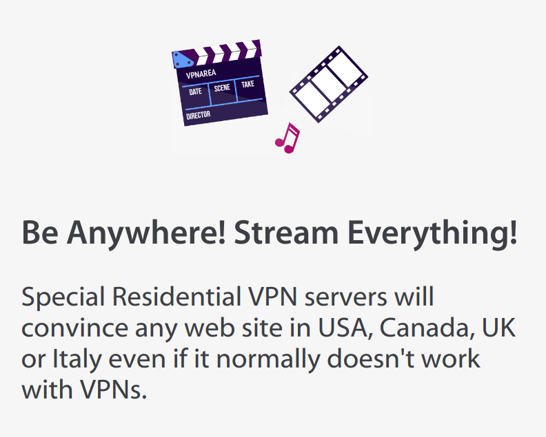 VPNArea Stream Everywhere