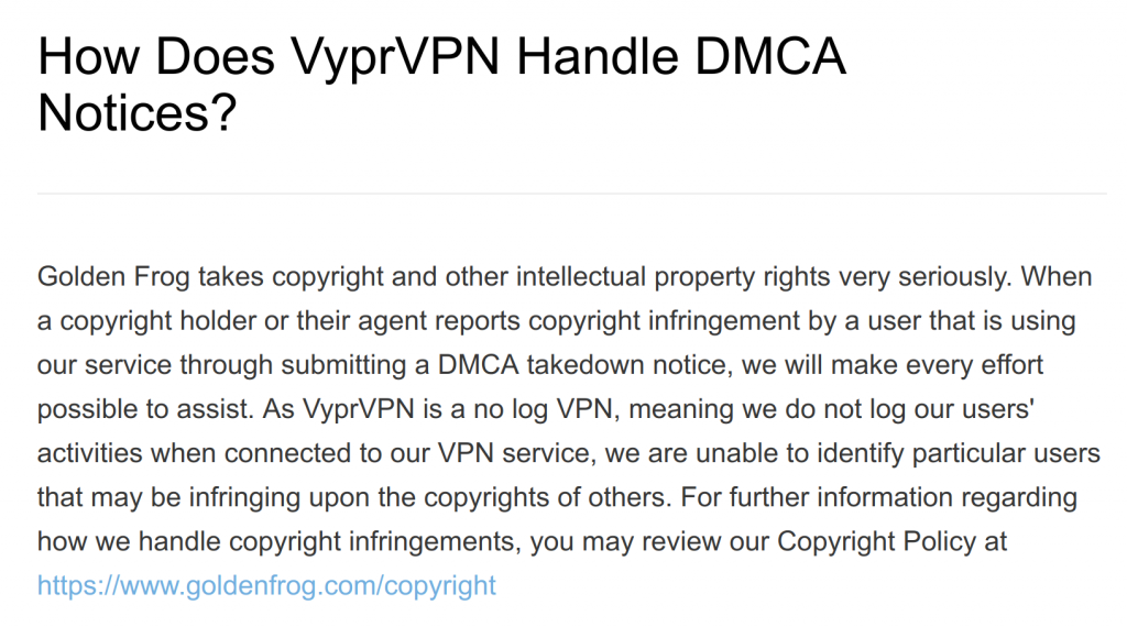 VyprVPN and DMCA Notices