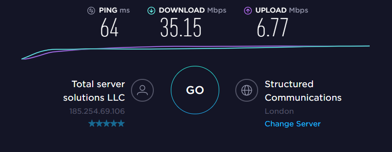 VPNArea UK Server Speed