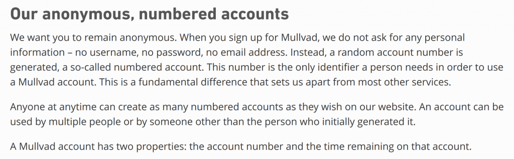 Mullvad Privacy Policy - Anonymous Numbered Accounts