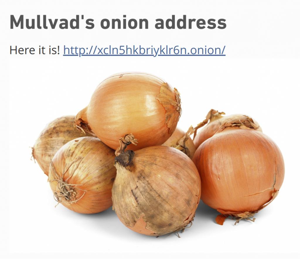 Mullvad VPN Onion Website