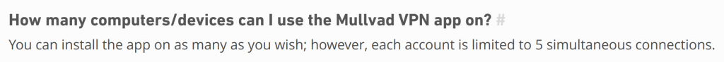 Mullvad VPN Simultaneous Connections