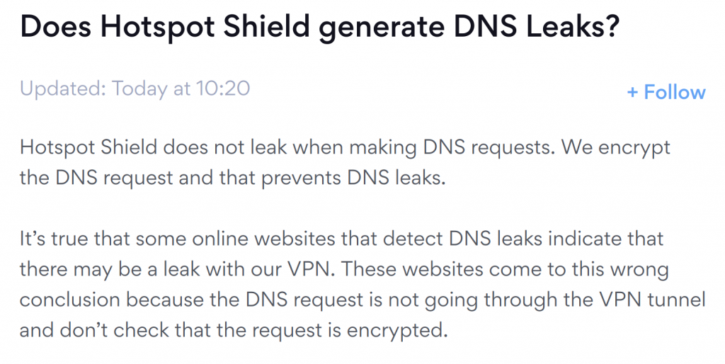 HotSpot Shield DNS Leaks