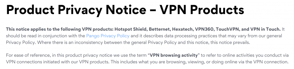 HotSpot Shield Privacy Policy