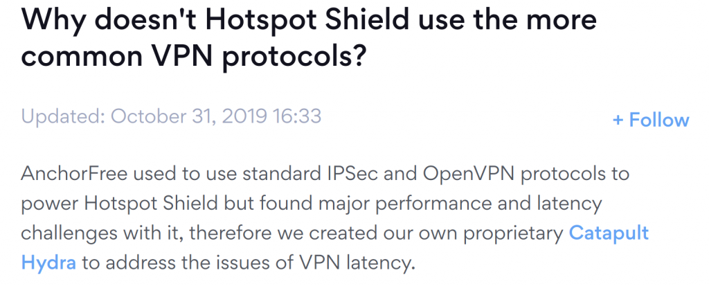 HotSpot Shield Protocols