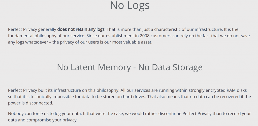 Perfect Privacy No Logs Page