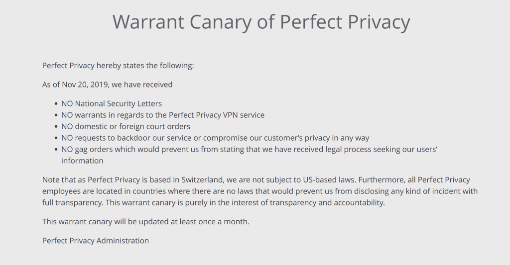 Perfect Privacy Warrant Canary