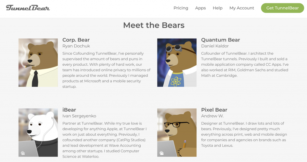TunnelBear Support Bears and Team