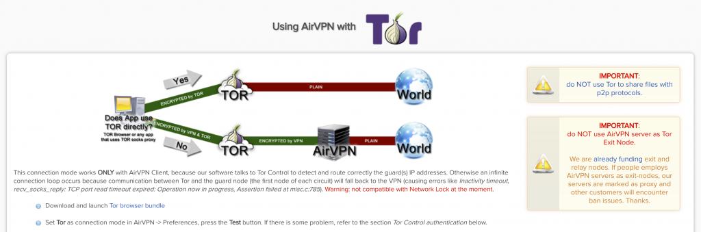 AirVPN Tor Compatibility