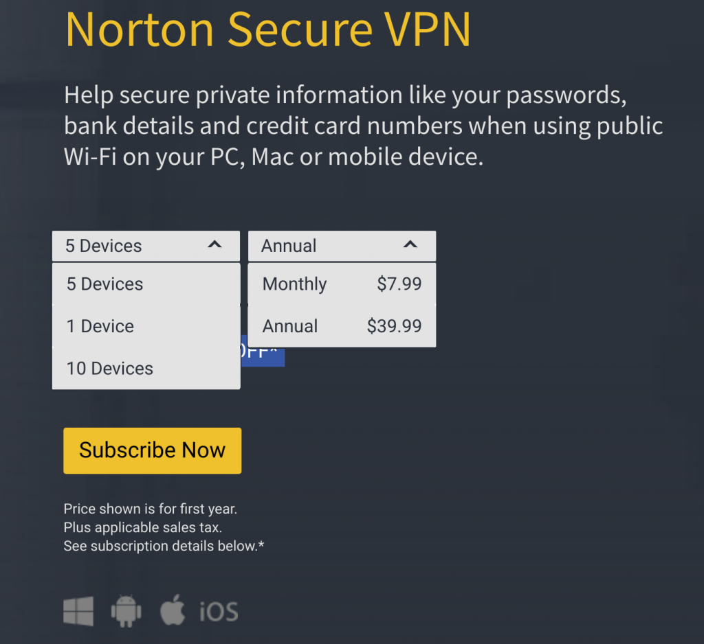 Norton Secure VPN Pricing Tiers