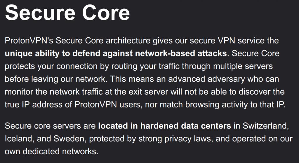 ProtonVPN securecore