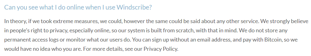 Windscribe FAQ Section