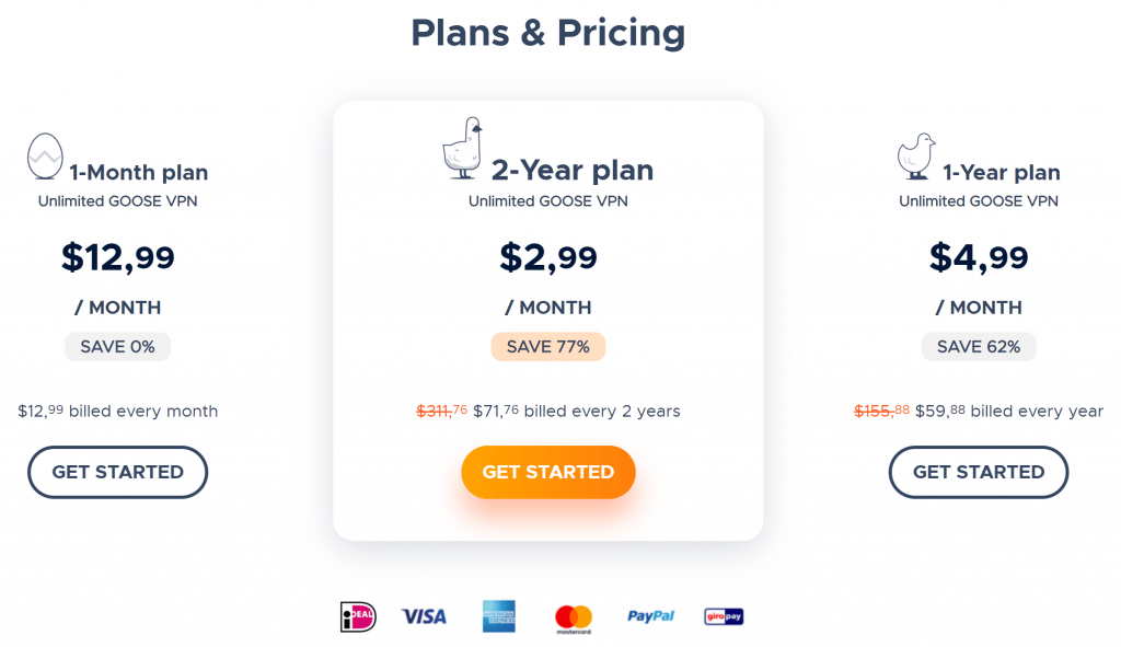 Goose VPN Plans and Pricing-min
