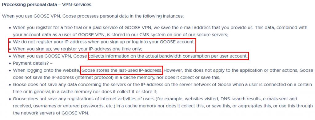 Goose VPN Privacy Policy 2