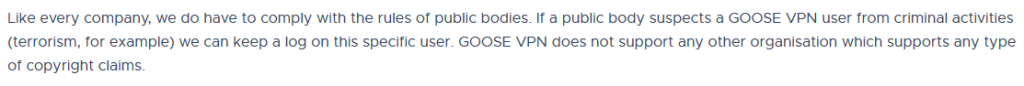 Goose VPN Privacy Policy 3