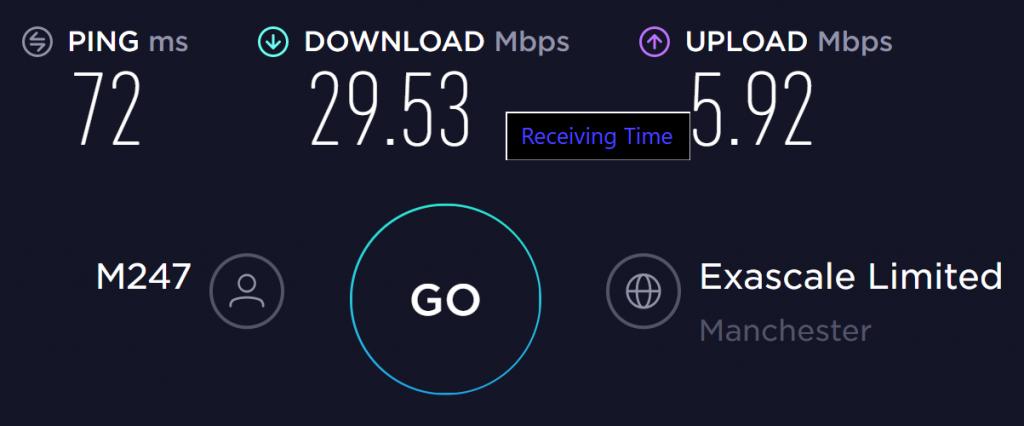 Goose VPN UK Server Speed