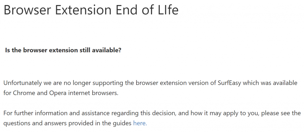 SurfEasy browser extension discontinued