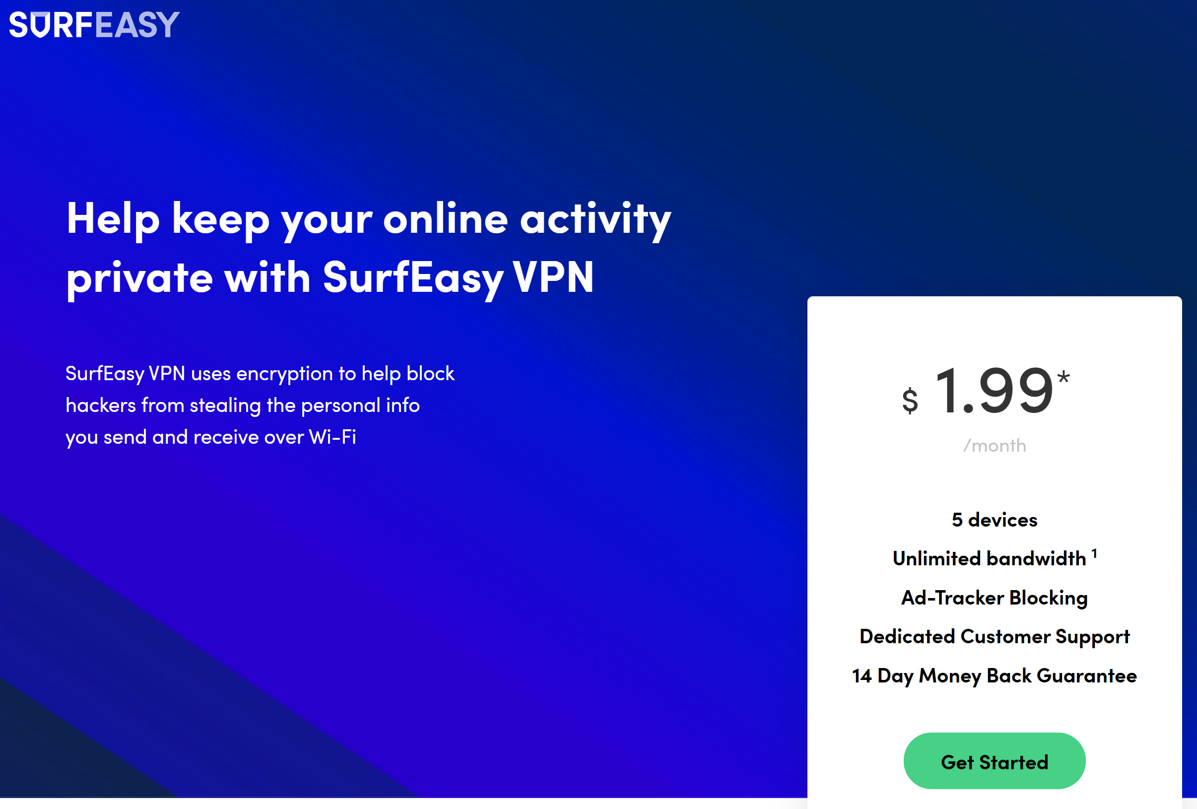 SurfEasy homepage