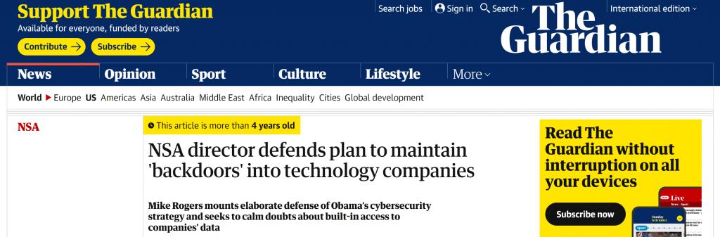 The Guardian Backdoors NSA