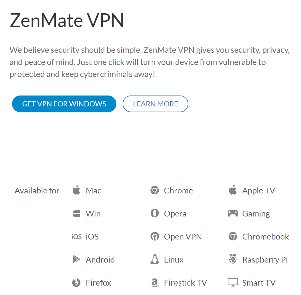 ZenMate Device Compatibility