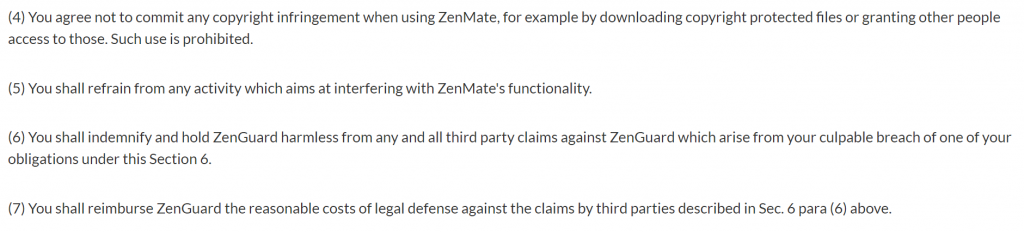 ZenMate Terms of Service