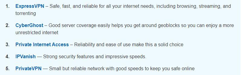 VPNMentor's top 5 VPNs without NordVPN